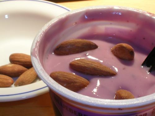 Yogurt and almonds