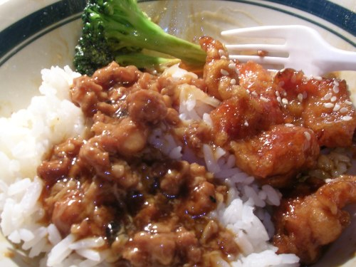 Lobster sauce and sesame chicken