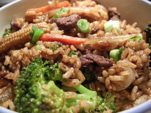 Beef stir fry with brown rice