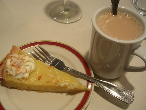 Lemon custard tart with coffee