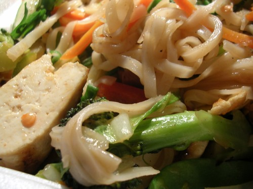Tofu stir fry with rice noodles