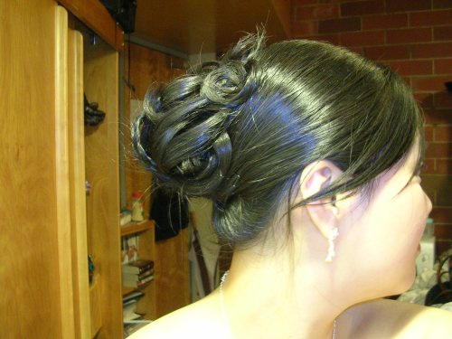 Senior ball hair - side view