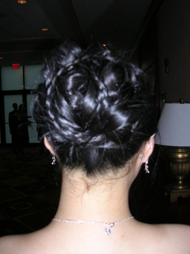 Senior ball hair - back view