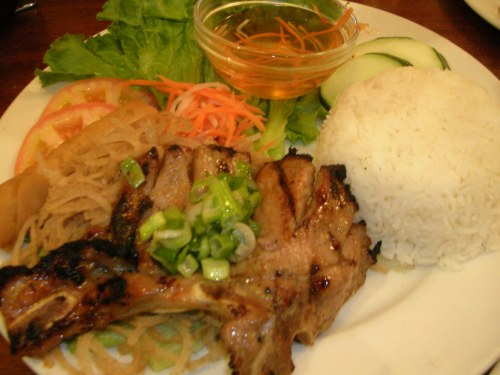 Vietnamese rice plate: pork chops, julienned pork skin, veggies, fish sauce