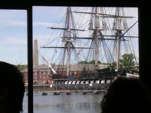 Old ship in harbor
