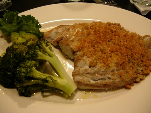 Broiled bluefish with crumb topping