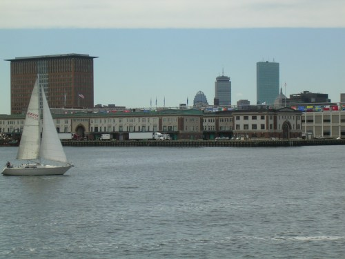 Sailboat, and the Boston World Trade Center in the background (see all the flags?)