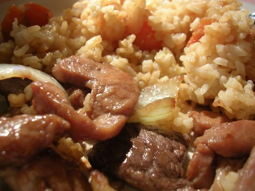 Lettuce wrap filling: stir-fried pork, beef, and onions, with fried rice with carrots