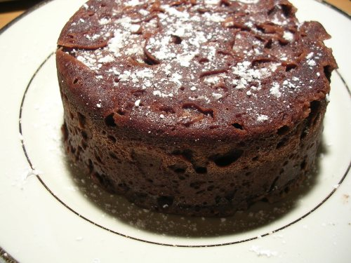 Microwave chocolate cake, dusted with confectioner's sugar