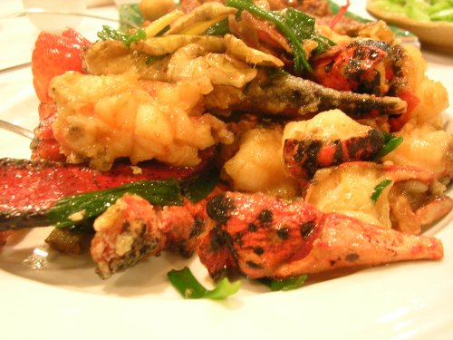 Ginger scallion stir fried lobster