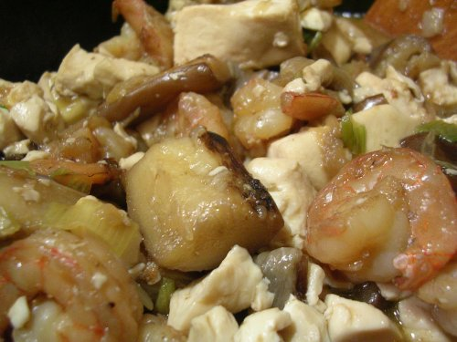 Tofu with eggplant and shrimp