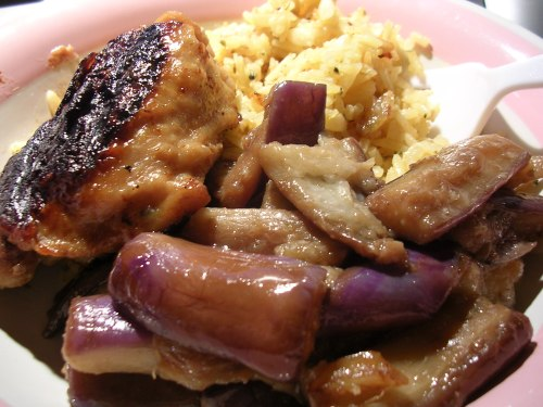 Honey mustard chicken with Chinese eggplant and rice