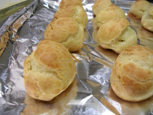 cream puffs when they are finished baking