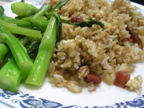 Fried rice with yu choy