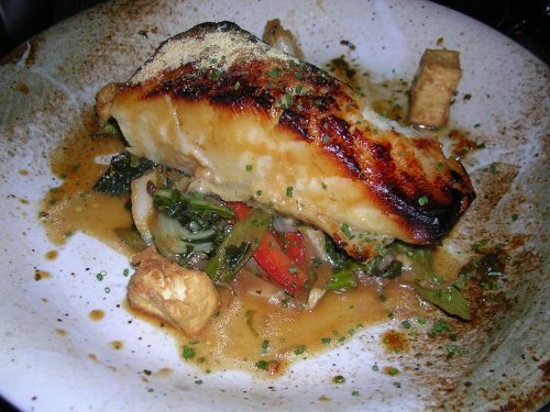 Miso glazed Chilean sea bass with wok vegetables