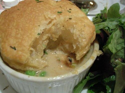 Chicken pot pie with tossed greens