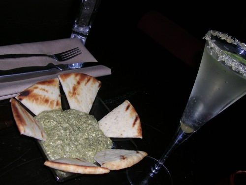 garlic spinach feta dip, and a sparkling mojito