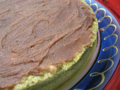bottom cake layer with red bean paste on top