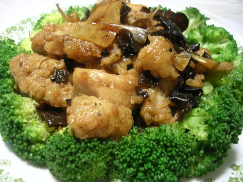Fish filets in a sweet and sour sauce