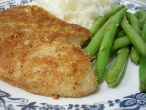 panko encrusted tilapia with garlic green beans