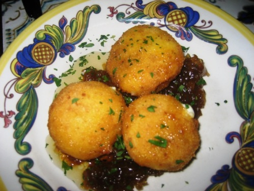 Dali's fried Spanish cheese with honey and sweet onions