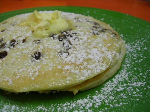 chocolate chip pancakes from Sunny's Diner