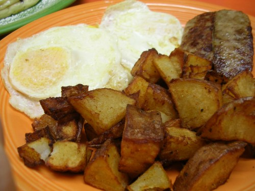 eggs, sausage, and home fries at Sunny's Diner