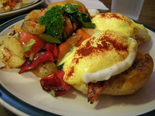 "Eggs benedict with ""home fries"" from Brookline Lunch"