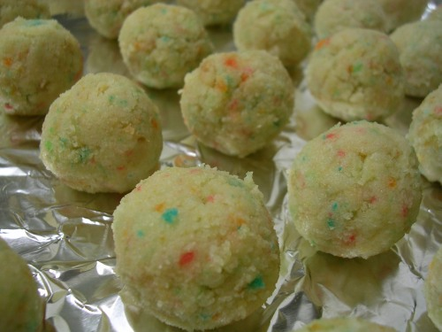 bake and frosting formed into balls