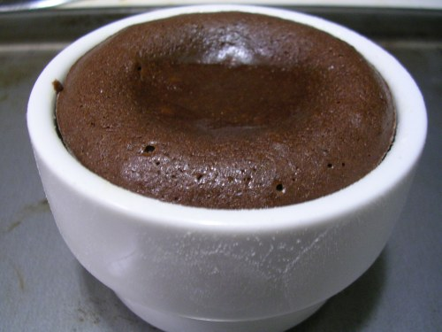 molten chocolate cake done baking in ramekin