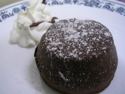 molten chocolate cake ready to serve
