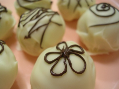 semi-sweet chocolate decorated cake truffles