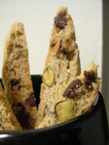 Pistachio Chocolate Chip Biscotti | My Edible Memories