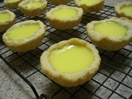 Egg custard tarts cooling