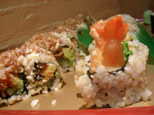 Crispy eel roll and shrimp tempura roll