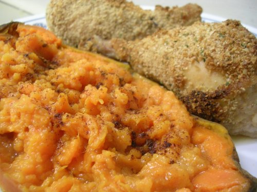 Baked sweet potatoes and drumsticks