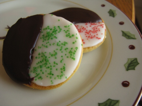 Christmas-themed black and white cookies