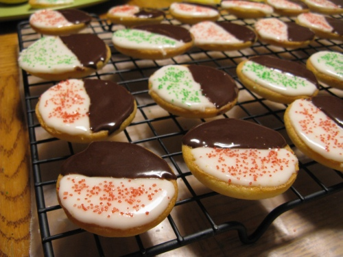 iced and decorated black & white cookies