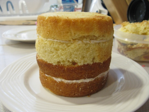 Cake halves are put together