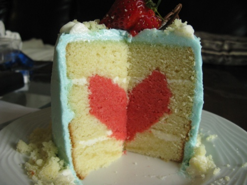 Hidden surprise heart cake!
