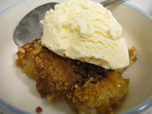 Peach dump cake with ice cream
