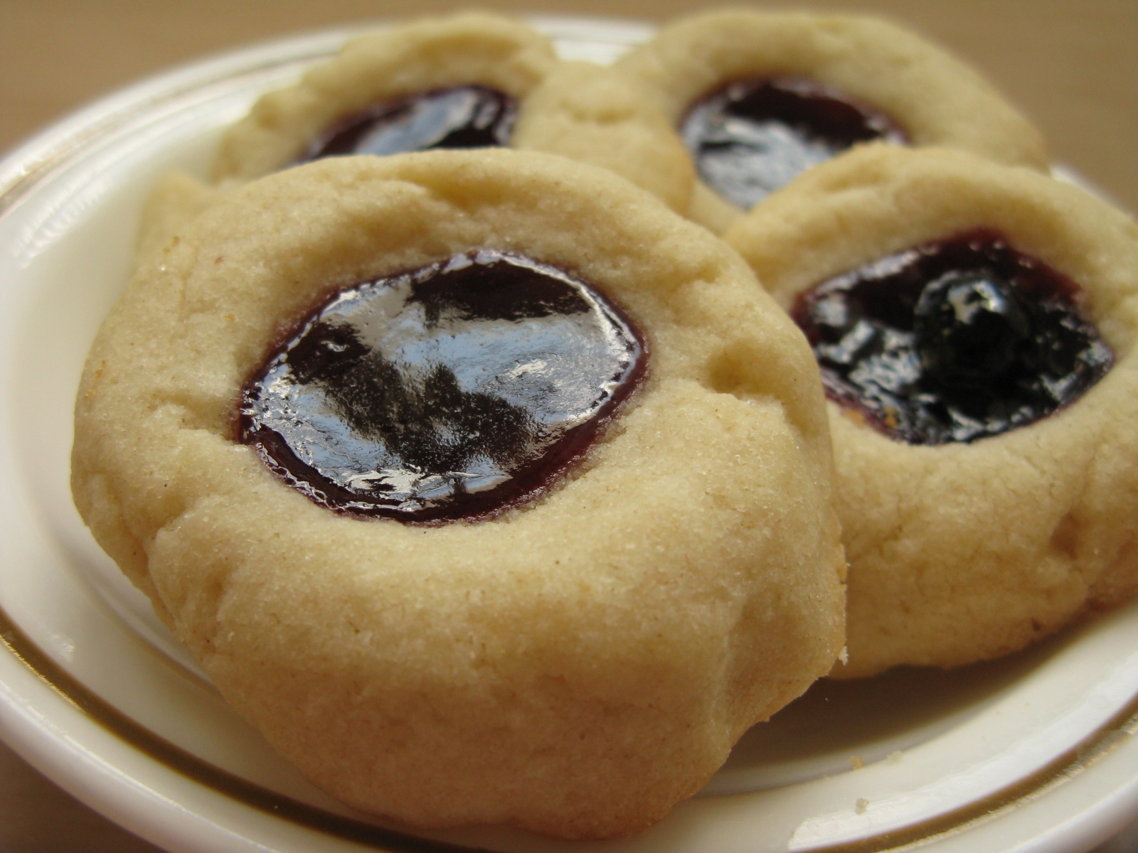 Raspberry and Blueberry Jam Thumbprint Cookies | My Edible Memories