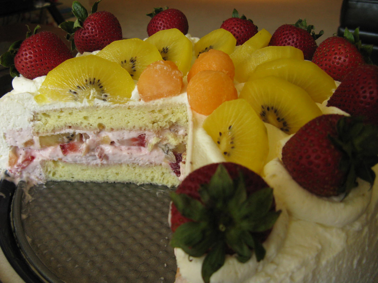 Chinese Birthday Cream Cake With Strawberry Mousse Filling And Fresh